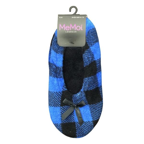 Memoi Women's Two Tone Check Fleece Lined Slipper