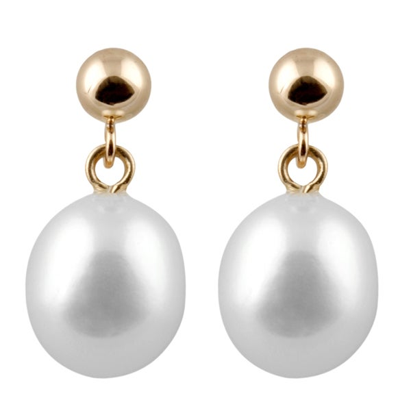 14k Gold Ball Drop Dangle Pearl Earrings (7-8mm)