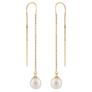 14k Yellow Gold Freshwater Pearl Long Dangle Earrings (7-8mm)