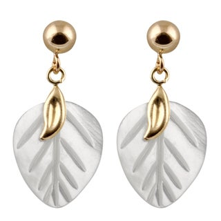 14k Yellow Gold Mother of Pearl Leaf Earrings (10-11mm)