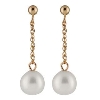 14k Yellow Gold Freshwater AAA Pearl Dangling Gold Ball Earrings (7-8mm)