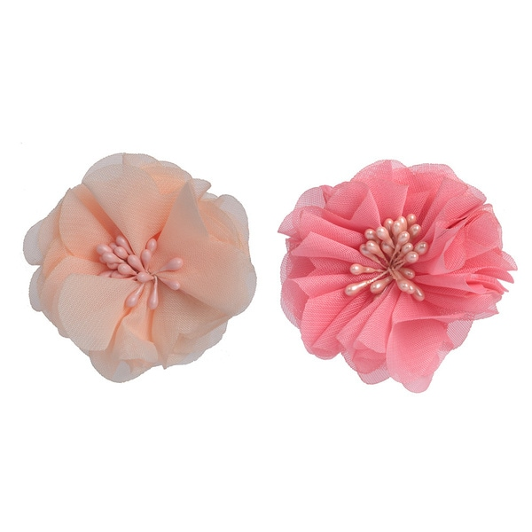 Bohemian Champagne and Rose Peony Flower Clips and Brooch Fascinator (Set of 2)