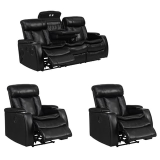 Smart Tech Bluetooth Power Reclining Black Sofa and Two Chairs