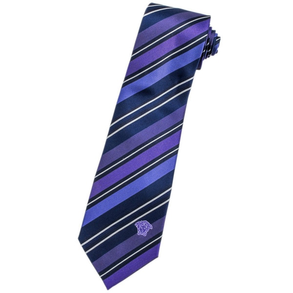 Versace 100-percent Italian Silk Blue/ Purple Stripe Neck Tie