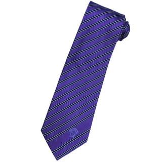 Versace 100-percent Italian Silk Grape Purple/ Blue Stripe Neck Tie