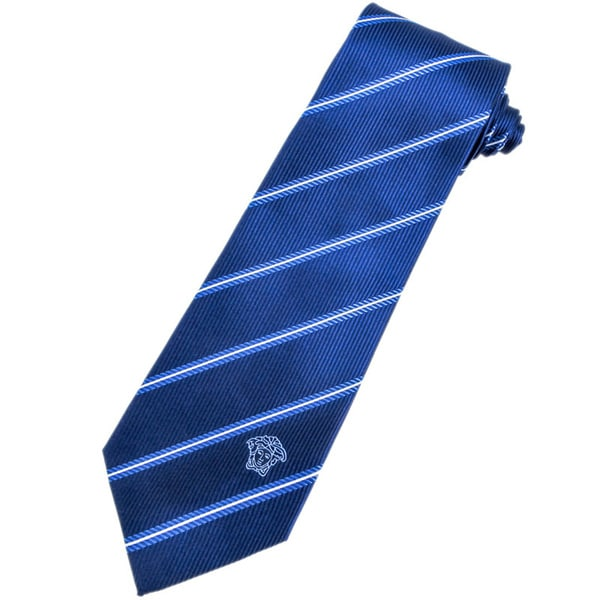 Versace 100-percent Italian Silk Blue/ White Stripes Neck Tie