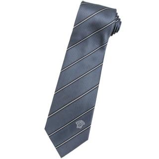 Versace 100-percent Italian Silk Grey/ White Stripes Neck Tie