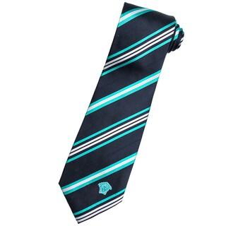 Versace 100-percent Italian Silk Navy/ Teal Stripes Neck Tie