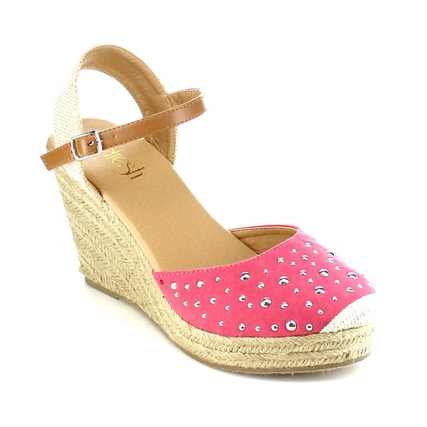 Beston AB02 Women's Ankle Strap Studded Espadrilles