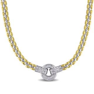 Miadora Signature Collection 18k Two-tone Gold 1/2ct TDW Diamond Station Necklace (F-G, VS1-VS2)