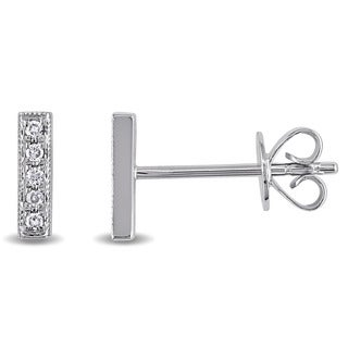 Miadora 14k White Gold Diamond Accent Bar Earrings