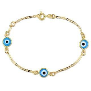 Miadora 18k Yellow Gold Evil Eye Charm Bracelet