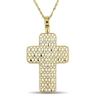 Miadora 18k Yellow Gold Italian Cross Necklace