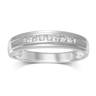 Unending Love Men's 10k White Gold 1/5ct TDW Diamond 7-stone Band (I-J, I2-I3)