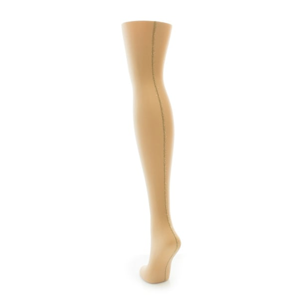 Memoi Women's Backseam Lurex Sheer Tights Nude