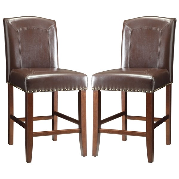 Horizon Brown Parson Style Counter Height Stools with Nailhead Trim and Stitching Detail (Set of 2)