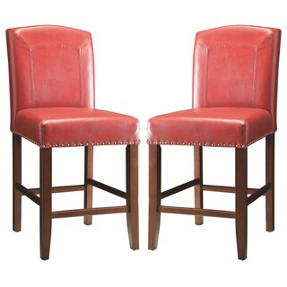 Horizon Red Parson Style Counter Height Stools (Set of 2)