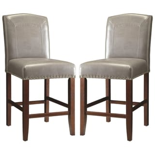 Horizon Grey Parson Style Counter Height Stools with Nailhead Trim (Set of 2)