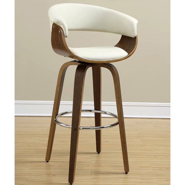 Aviva Modern Bentwood Design Cream/ Ecru Upholstered Bar Stool