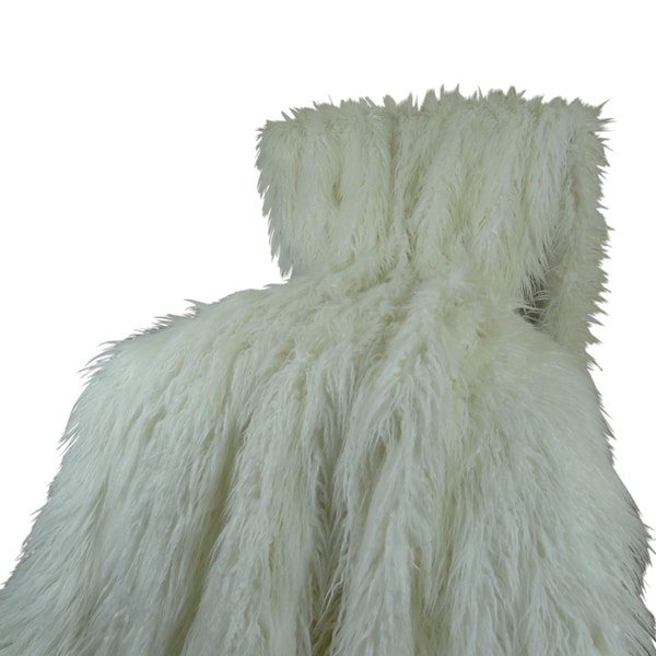 "Plutus Luxury White Mongolian Faux Fur Throw Blanket (108""W x 90""L) (As Is Item)"