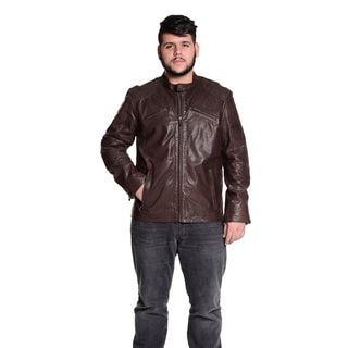 Excelled Men's 100-percent Leather Modern Moto Jacket
