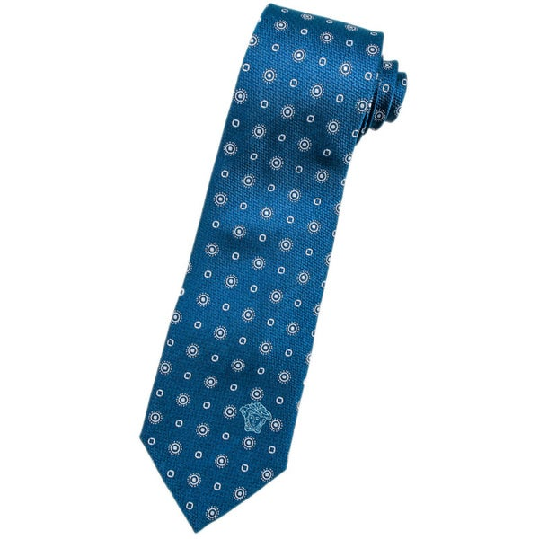 Versace 100-percent Italian Silk Teal/ White Circle Neck Tie