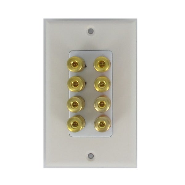 Theater Solutions WP4 4 Speaker 8 Binding Post Banana Jack White Wall Face Plate Surround Sound