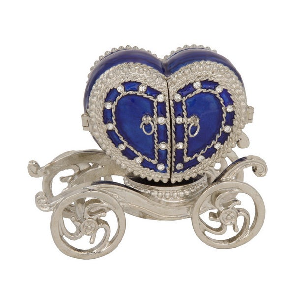Blue Heart Shaped Carriage Trinket Box with Ring Insert
