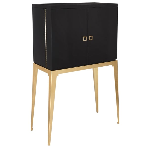 Safavieh Couture High Line Collection Geneva Gold Leaf Black Wine Storage Cabinet 17195546