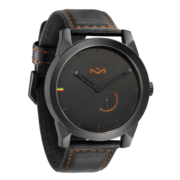 House of Marley Mens Auto Billet Leather Midnight Watch