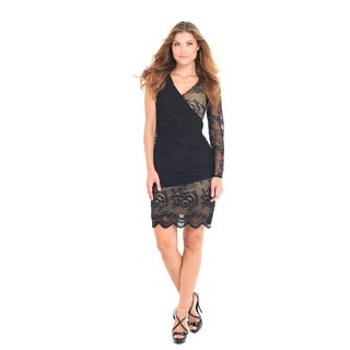 Women's Black/ Beige Lace Dress