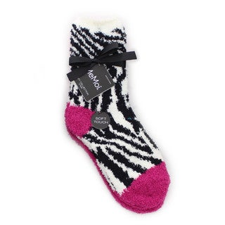 Memoi Women's Zebra/Solid Cozy Collection (Pack of 2)