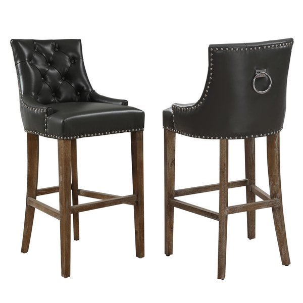 Uptown Grey Leather Counter Stool 18141006 Overstock