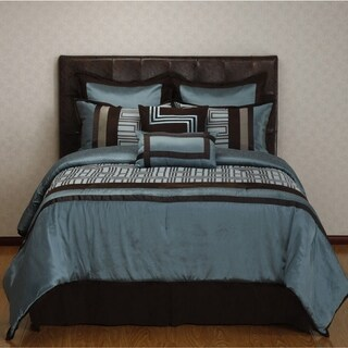 Maze Blue/ Brown Geometric 8-piece Reversible Comforter Set