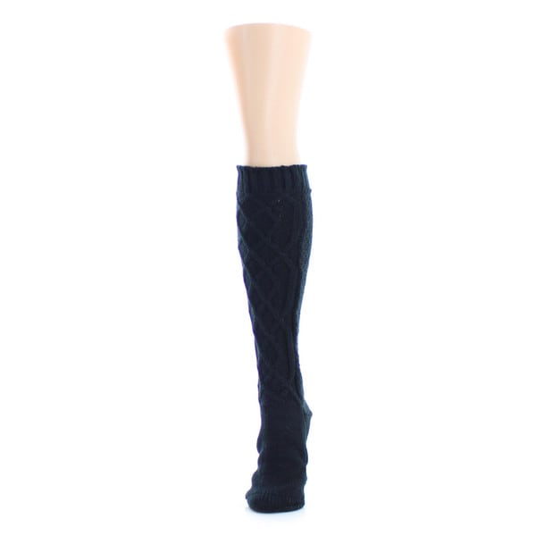 Memoi Women's Twist Maze Chunky Knit Knee High
