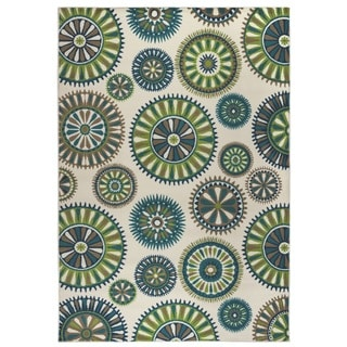 Rizzy Home Glendale Collection Power-loomed Blue/ Ivory Medallion Area Rug (6'7 x 9'6)