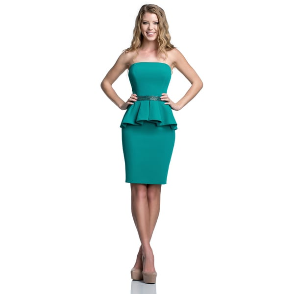 Terani Couture Strapless Stretch Crepe Homecoming Dress