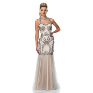 Terani Couture Beaded Trumpet Gown with Keyhole Halter Neck