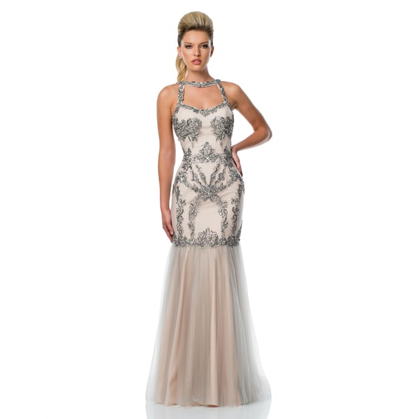 Terani Couture Beaded Trumpet Prom Gown with Keyhole Halter Neck