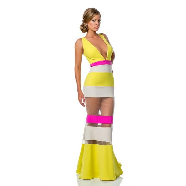 Terani Couture V-Neck Multi Colored Prom Dress