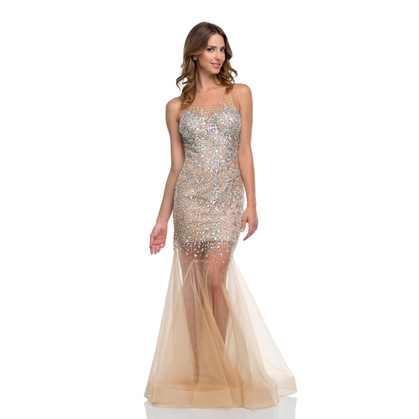 Terani Couture Women's Beaded Prom Dress with Sheer Tulle Skirt