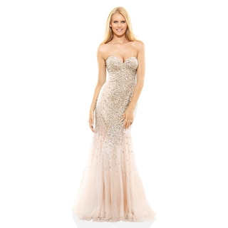 Terani Couture Strapless Beaded and Tulle Prom Gown