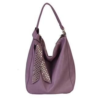 Diophy Gold Studded Ribbon Hobo Handbag