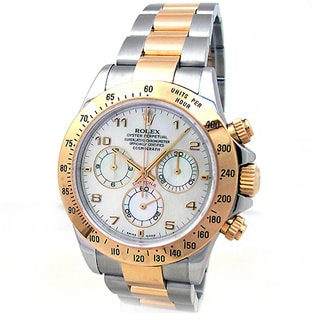 Pre-owned Rolex Oyster Perpetual Daytona 116523 Men's 18k Yellow Gold Stainless Steel Daytona Watch