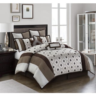Grayson Silver/ Brown Geometric 8-piece Reversible Comforter Set