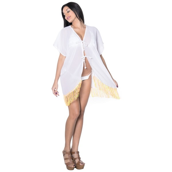 La Leela Tassels Women's Open Solid Sheer Chiffon White Bikini Cover Up Kimono