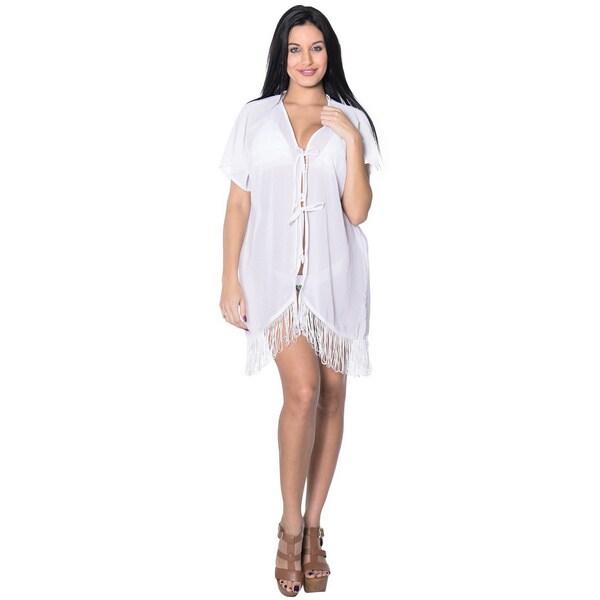 La Leela Women's Sheer Chiffon Tassels Open Solid White Bikini Cover up Kimono