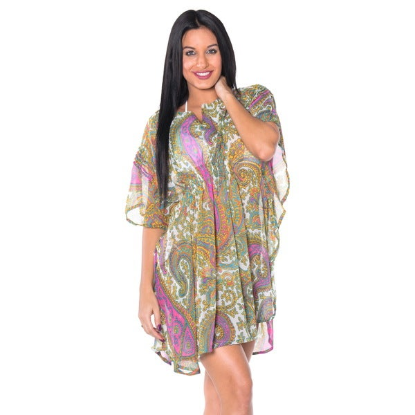 Women's Lightweight Chiffon Green Paisley Beach Cover-up