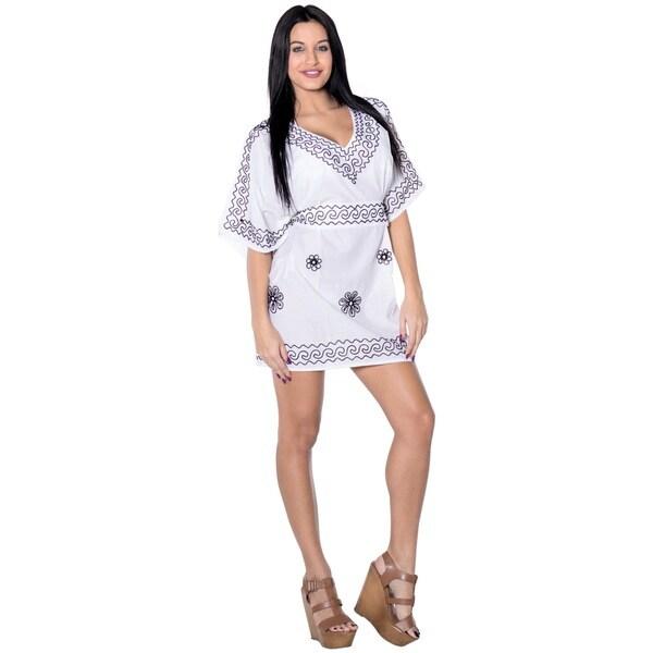La Leela Women's Plus Size Rayon Hand Embroidered White Beach Swimwear Cover up Kaftan