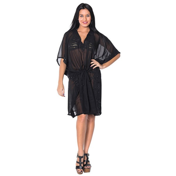 La Leela Women's Plus Size Black Sequin Embroidered Sheer Chiffon Beach Swimwear Cover up